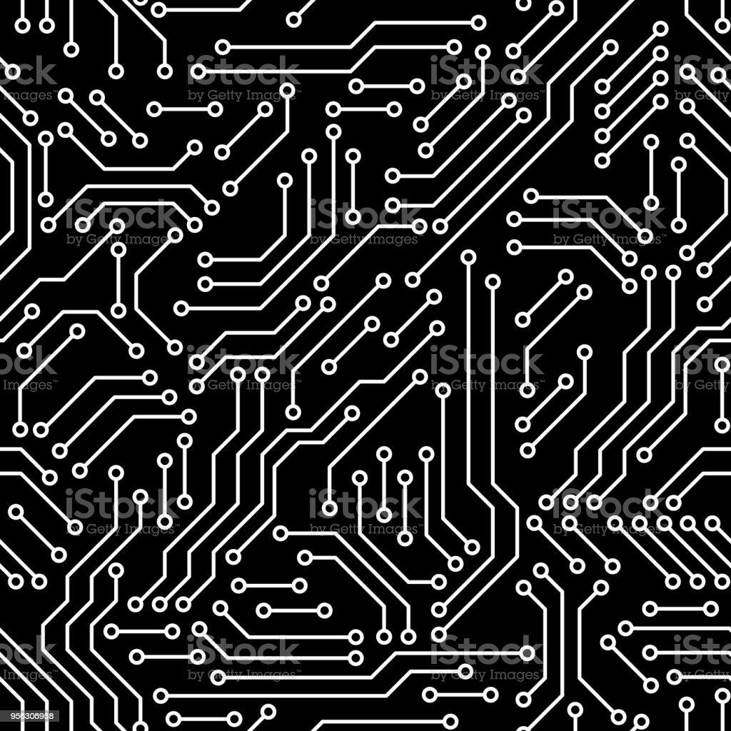 Circuito Impreso : Ilustración de circuito impreso tablero blanco y negro ordenador