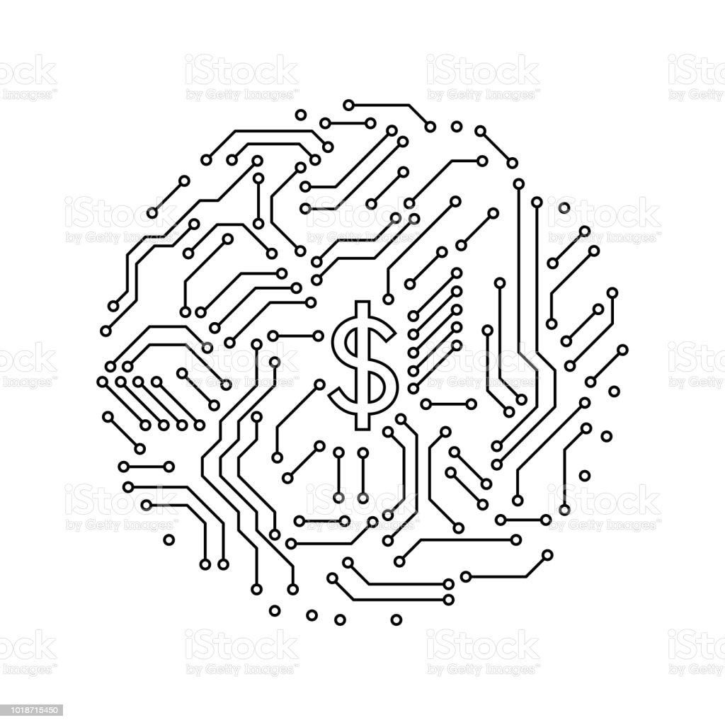 Printed Circuit Board Black And White House Shape Computer Infographic Technology Vector Royalty Free