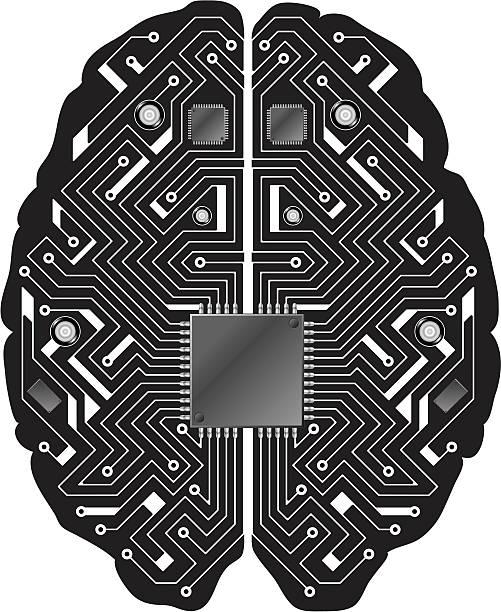 printed circuit board schwarz gehirn - sensorischer impuls stock-grafiken, -clipart, -cartoons und -symbole