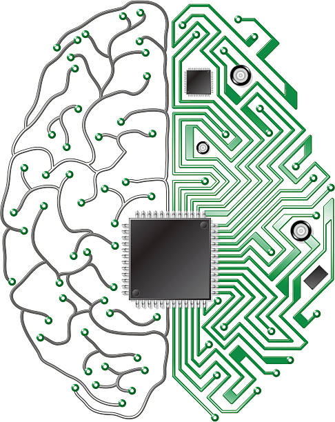 printed circuit board gehirn - sensorischer impuls stock-grafiken, -clipart, -cartoons und -symbole