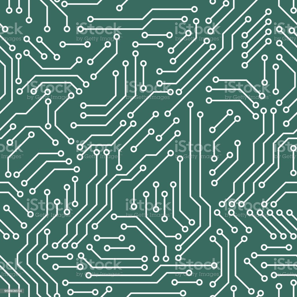 Printed Circuit Board Green And White Computer Technology Seamless Detail Of A Royalty Free Stock Image Pattern Vector