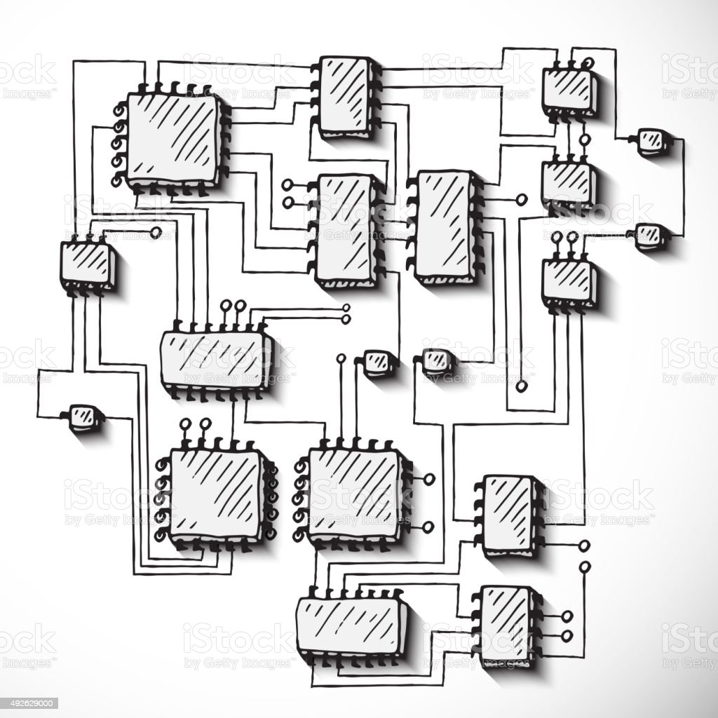 Peachy Printed Circuit Board Hand Drawn Stock Vector Art More Images Of Wiring 101 Akebretraxxcnl
