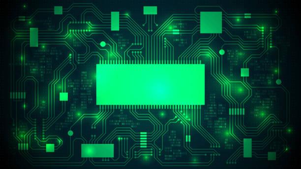 leiterplatte mit einem prozessor, mikrochips und binär-code. hightech-elektronische hintergrund, textfreiraum, abstrakte vorlage; gut organisierte schichten - farbchips stock-grafiken, -clipart, -cartoons und -symbole