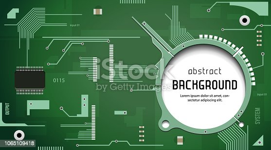 Printed Circuit Board With Chip CPU Processor Vector Background Green EPS10