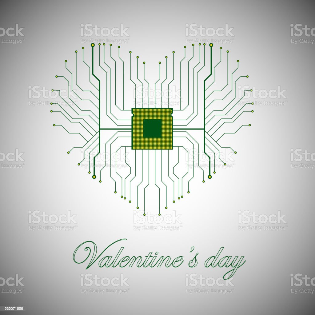 Printed circuit board with processor in the form of heart vector art illustration
