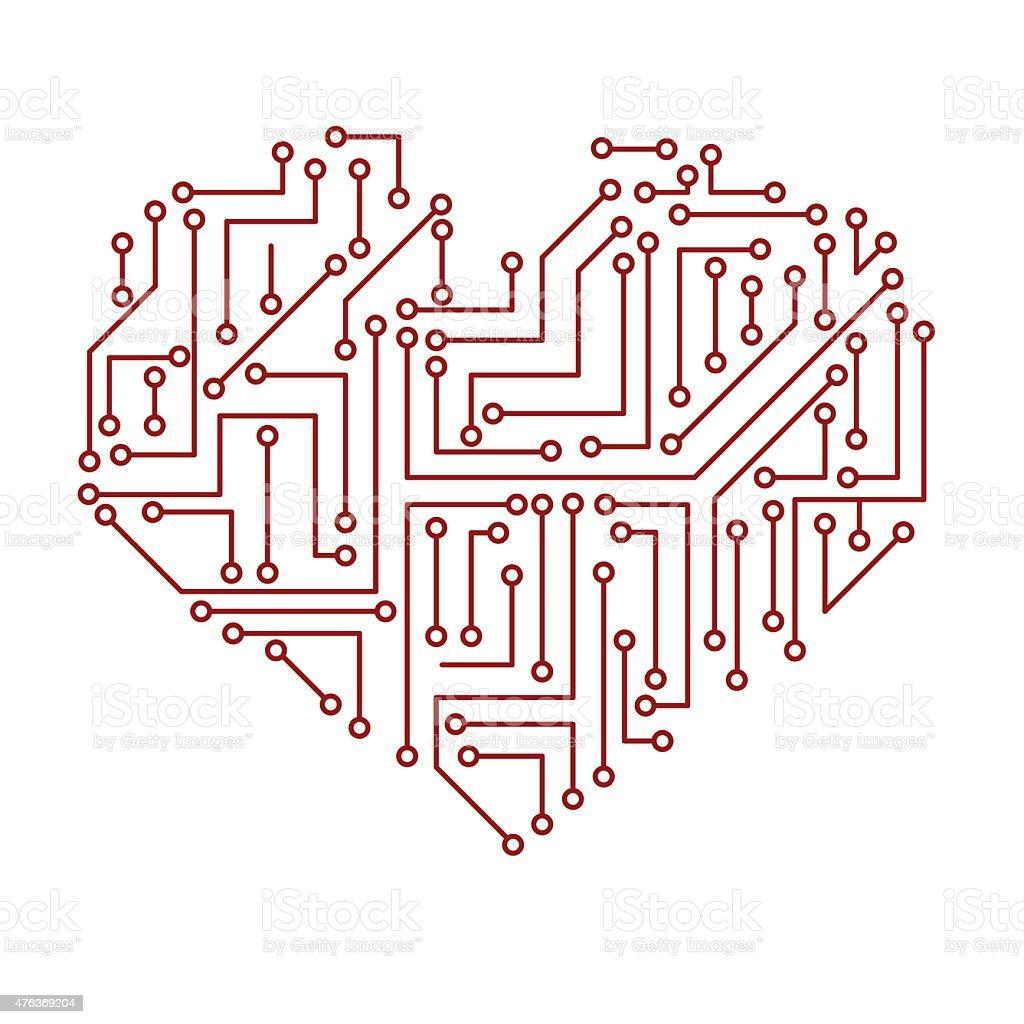 Circuit Imprimé électrique De Symbole Coeur Eps10 – Cliparts ...