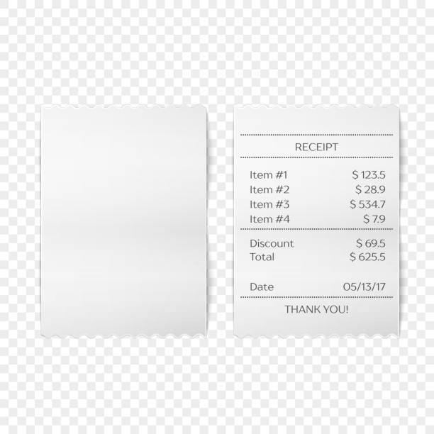 Printed receipt vector Vector sales printed receipt. Bill atm template, cafe or restaurant paper financial check Realistic vector illustration receipt stock illustrations