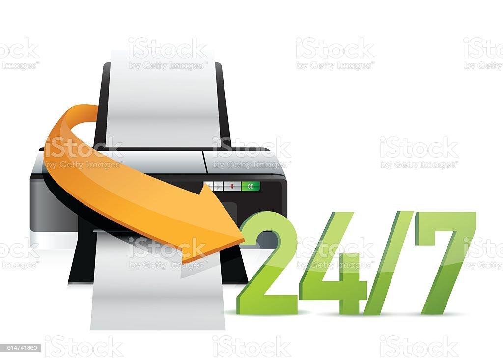 printer 24 for 7 service support illustration design over white vector art illustration