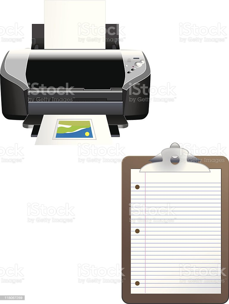 Printer and Clipboard royalty-free stock vector art