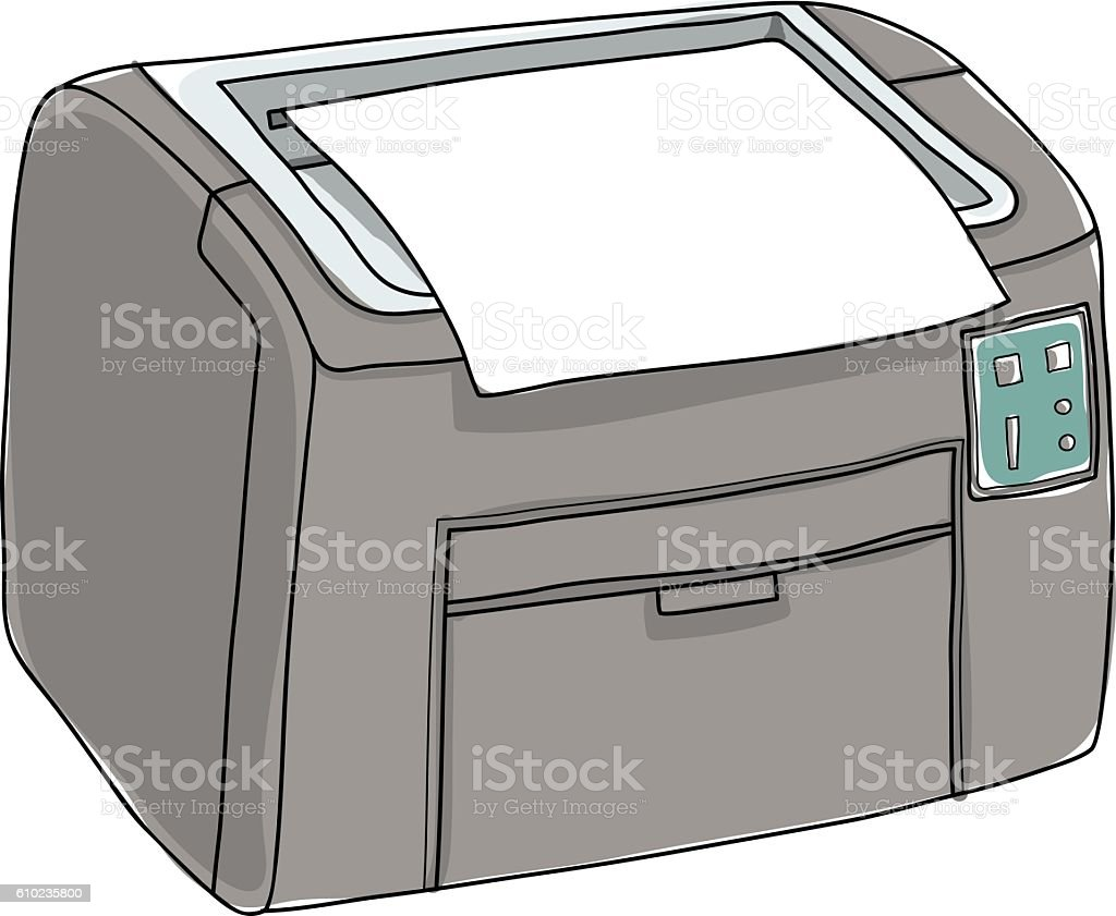 Printer and paper isolated on white background hand drawn illust vector art illustration
