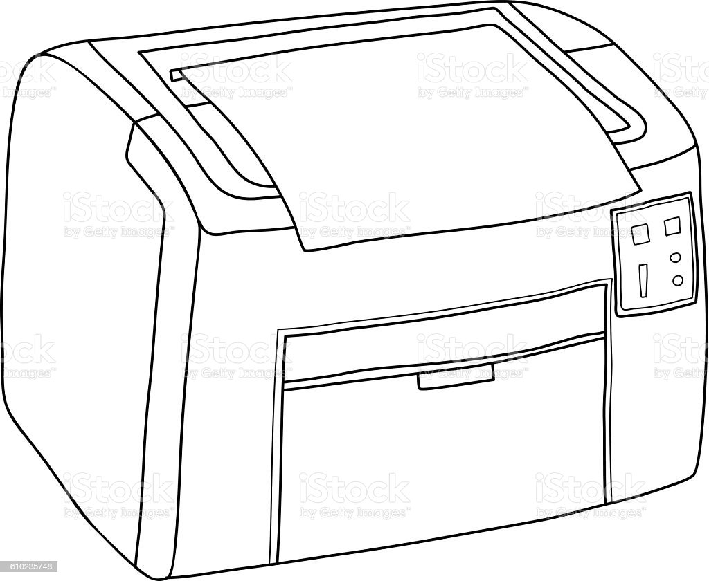 Printer and paper isolated on white background line art hand vector art illustration