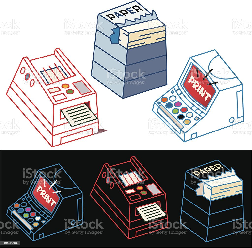 PC, Printer and Paper royalty-free stock vector art