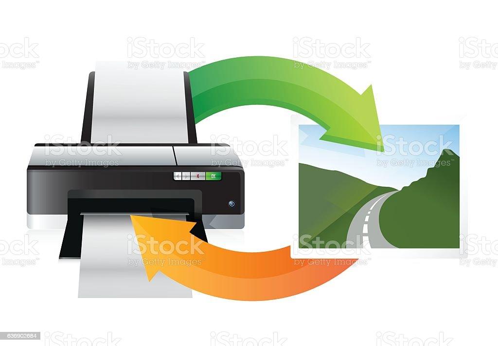 printer and print cycle illustration design over white vector art illustration