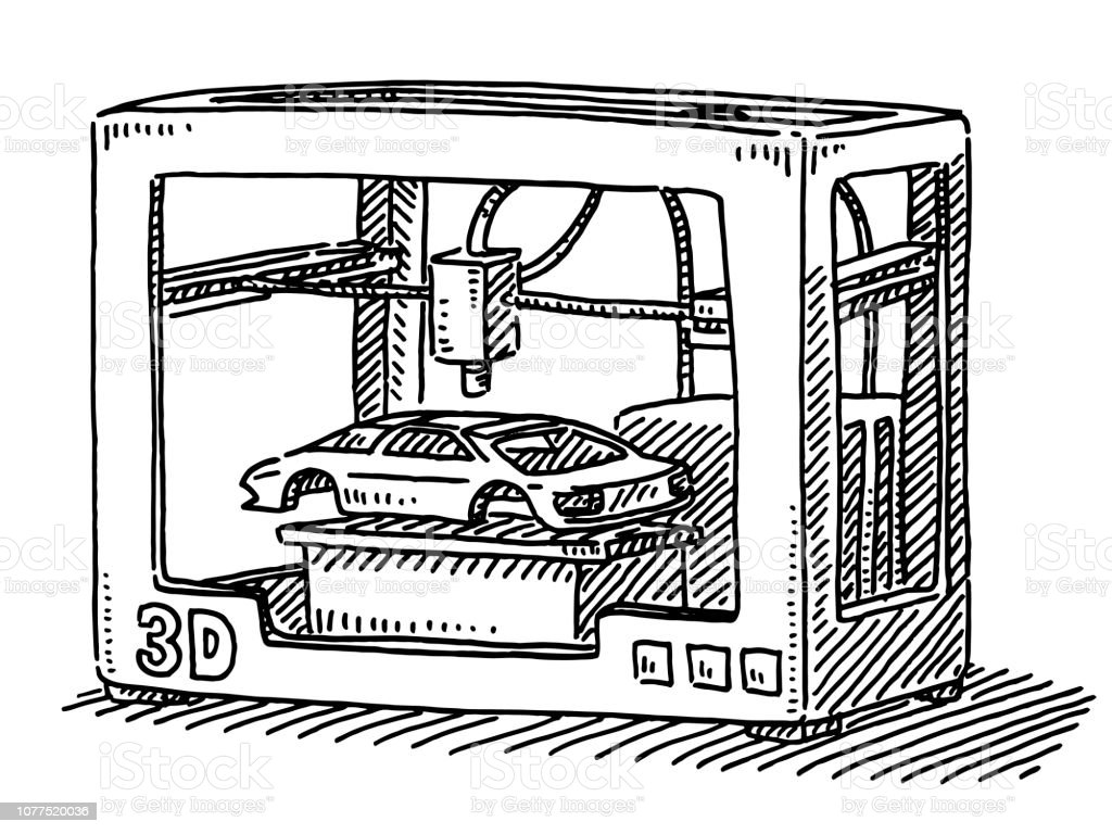 3d Printer Car Model Drawing Stock Illustration - Download Image Now