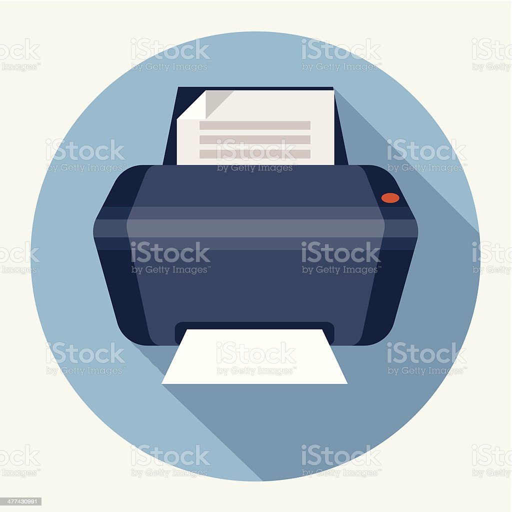 Printer Flat Icon vector art illustration