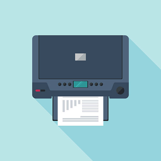 Printer flat icon with long shadow. Top view. vector art illustration