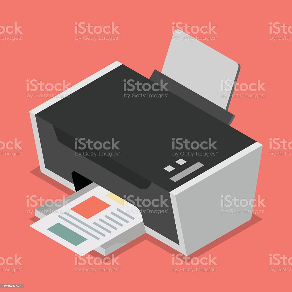 Printer flat style isometric vector art illustration