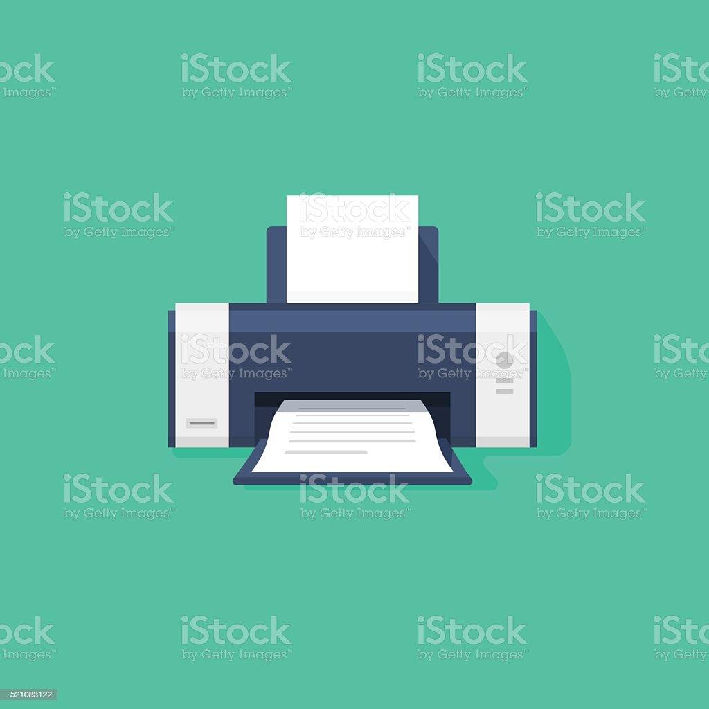 Printer flat vector icon with shadow vector art illustration