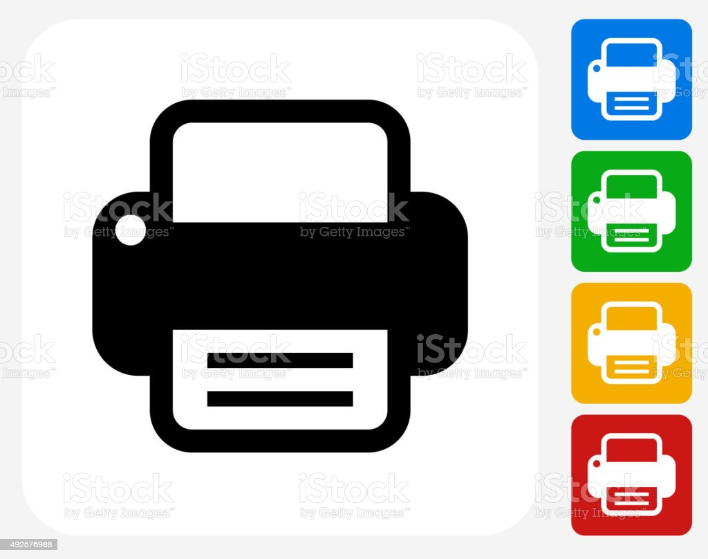 Printer Icon Flat Graphic Design vector art illustration