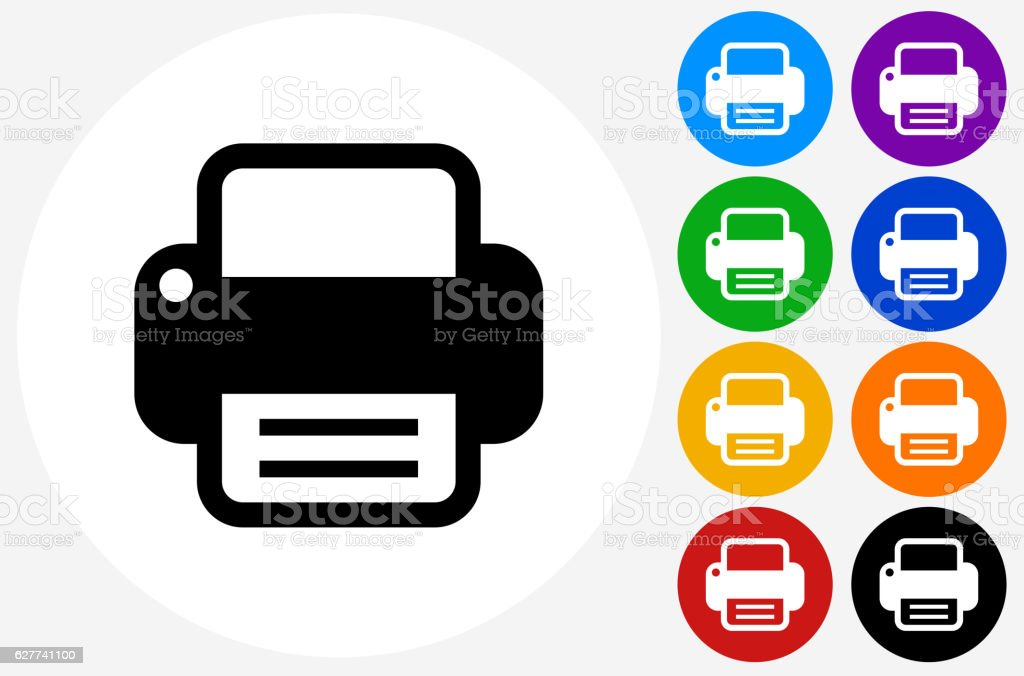 Printer Icon on Flat Color Circle Buttons vector art illustration