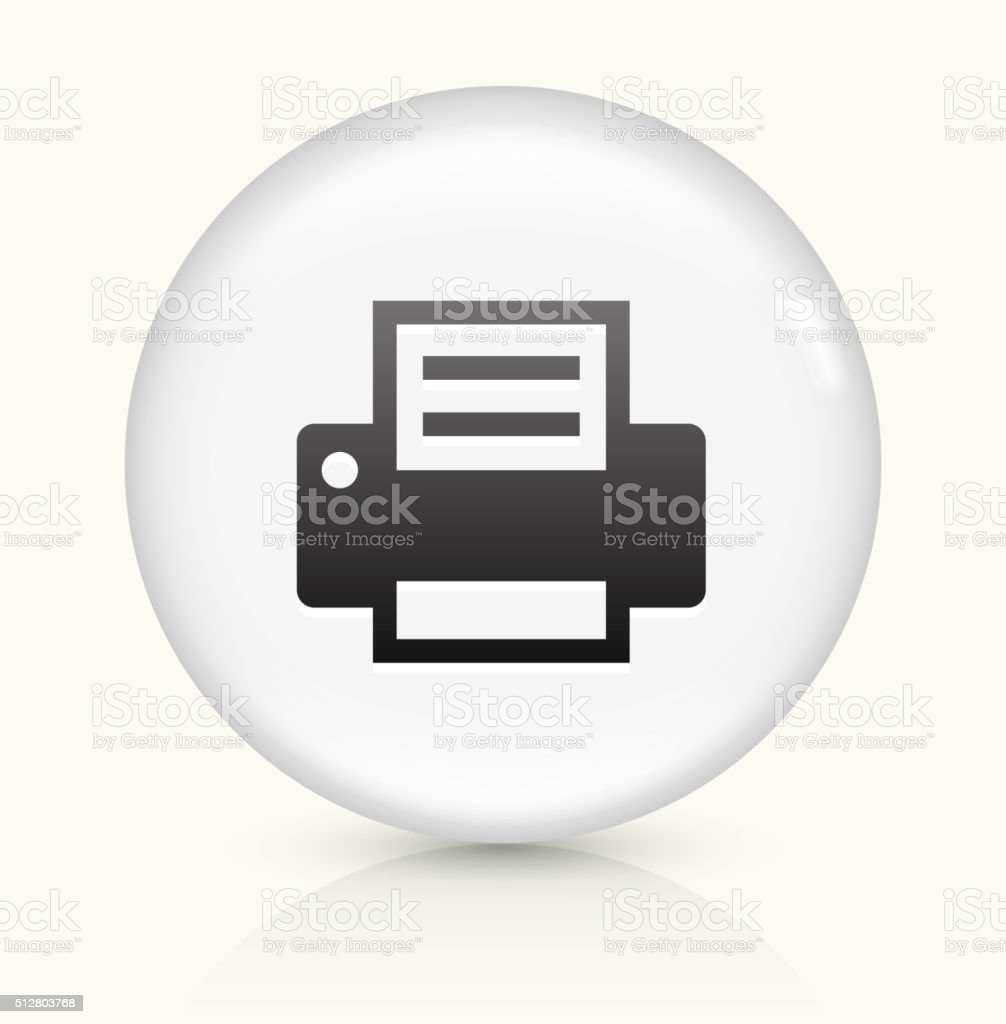 Printer icon on white round vector button vector art illustration