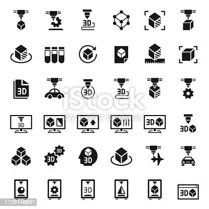 3D printer icon set