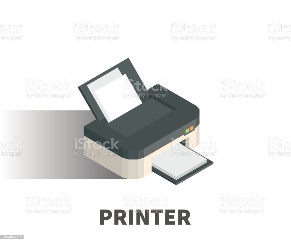 Printer icon, vector symbol in isometric 3D style isolated on white background. vector art illustration