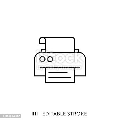 istock Printer Icon with Editable Stroke and Pixel Perfect. 1180414345
