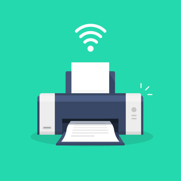 Printer icon with wifi wireless symbol or ink jet fax wi-fi print technology pictogram flat cartoon vector illustration isolated, modern design laser-jet clipart image vector art illustration
