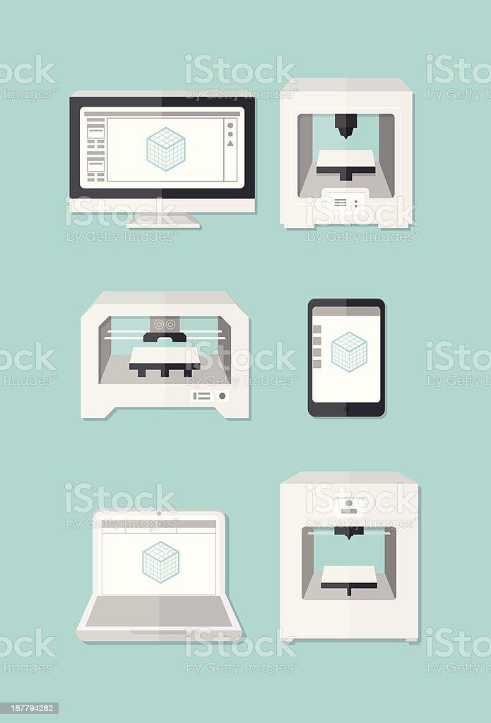 3D Printer Icons vector art illustration