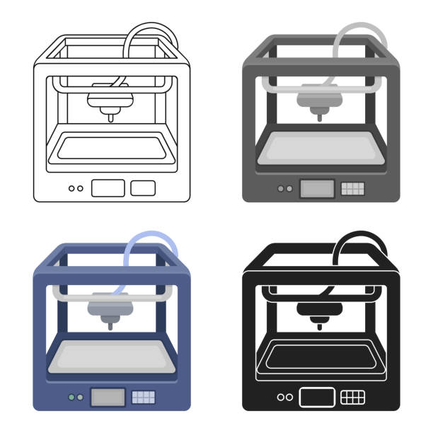 3D Printer in cartoon style isolated on white background. Typography symbol stock vector illustration web - illustrazione arte vettoriale