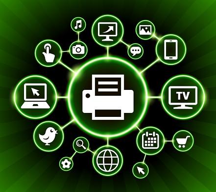 Printer Internet Communication Technology Dark Buttons Background