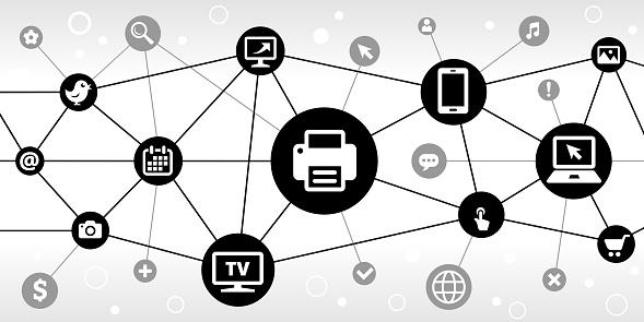 Printer Internet Communication Technology Triangular Node Pattern Background
