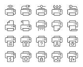 istock Printer - Light Line Icons 1185575968