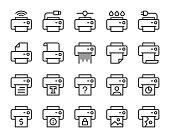 Printer Line Icons Vector EPS File.