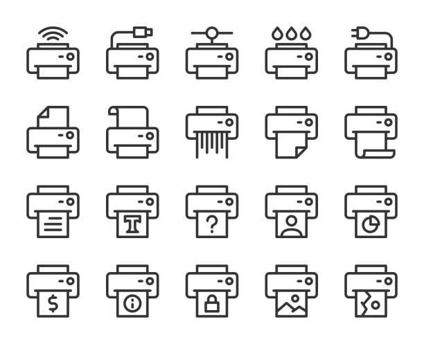 illustrations, cliparts, dessins animés et icônes de icônes de ligne d'imprimante - infographie industrie manufacture production