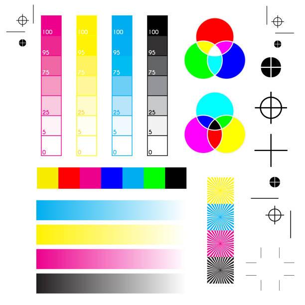 illustrazioni stock, clip art, cartoni animati e icone di tendenza di printer marks - cmyk