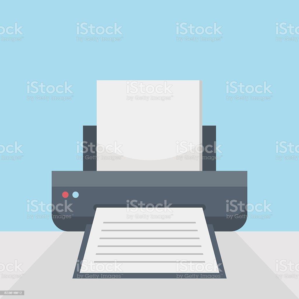 Printer on table vector art illustration