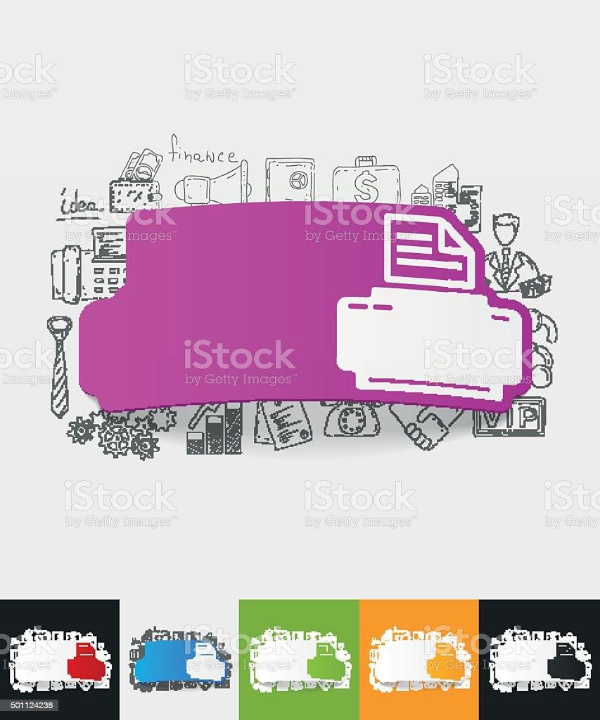 Drucker Papieraufkleber Mit Hand Gezeichnet Elemente Stock