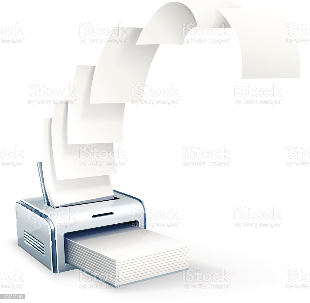 Printer printing copies to white paper vector icon eps10 illustration vector art illustration