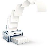Printer printing copies to white paper vector icon eps10 illustration
