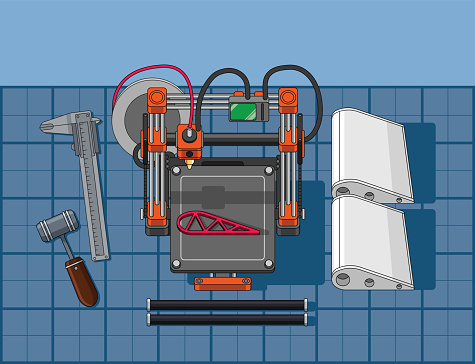 Illustration of 3d printing technologie in real world use situation. Vector files