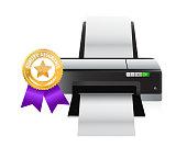 printer quality gold ribbon illustration design over a white background