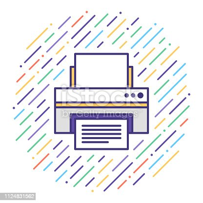 Flat line vector icon illustration of printer repair & maintenance with abstract background.