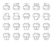 istock Printer - Thin Line Icons 1153193153