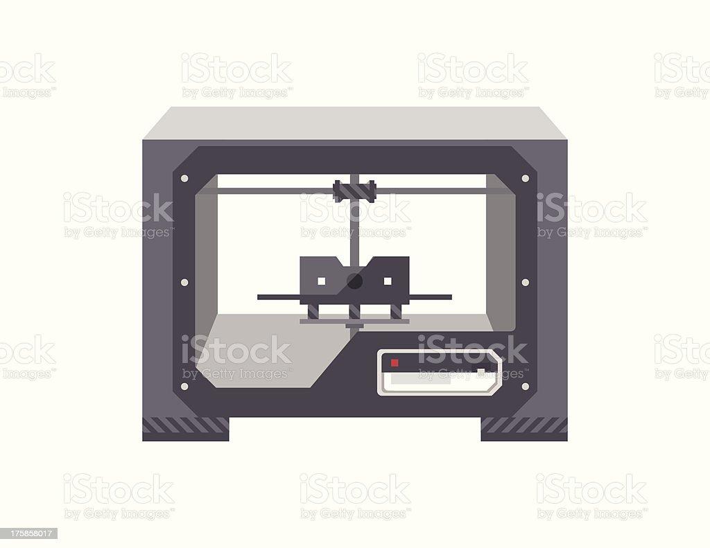 3D Printer vector art illustration