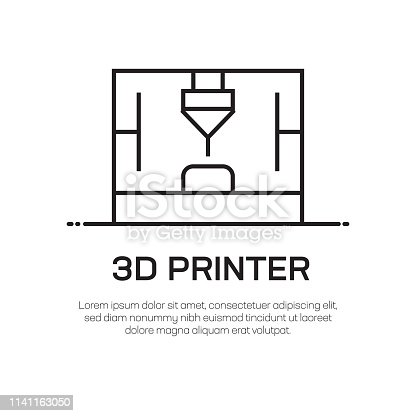 3D Printer Vector Line Icon - Simple Thin Line Icon, Premium Quality Design Element