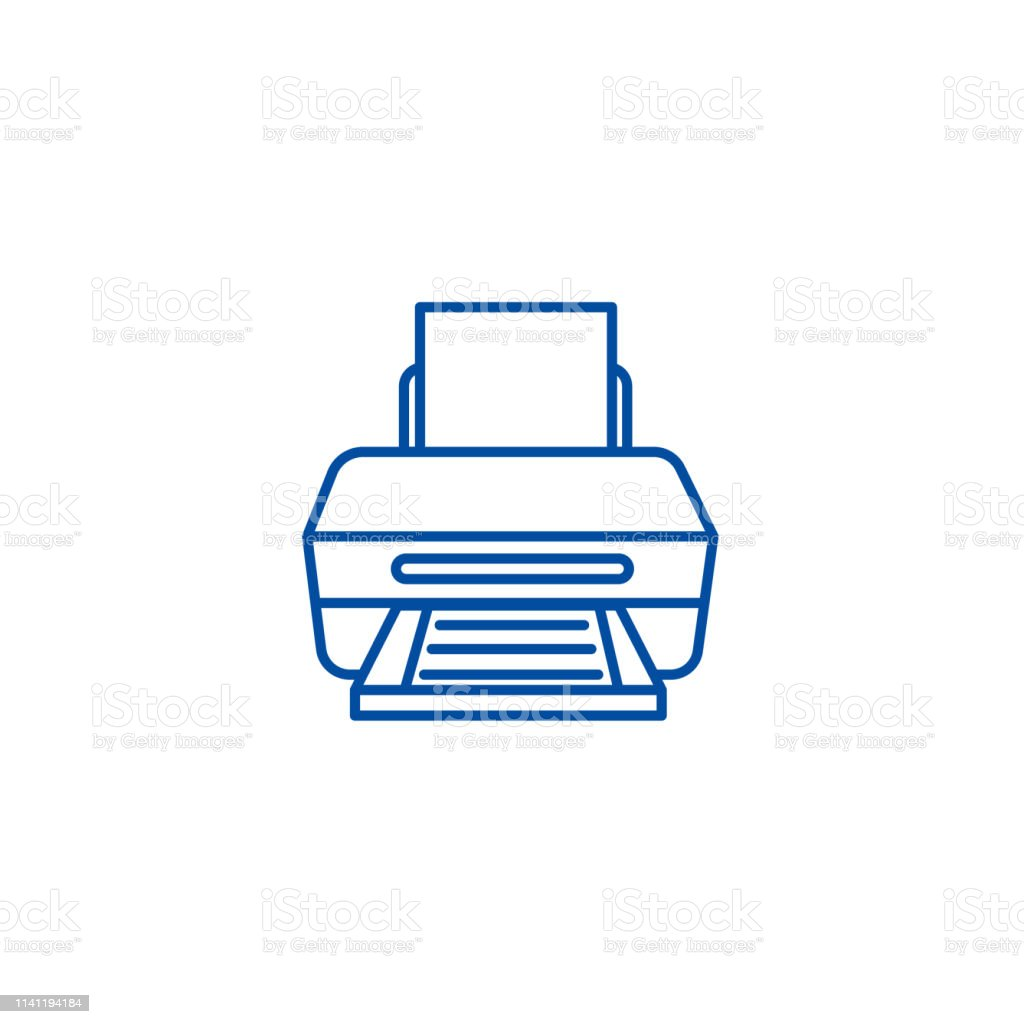 Printer with paper line icon concept. Printer with paper flat  vector symbol, sign, outline illustration.