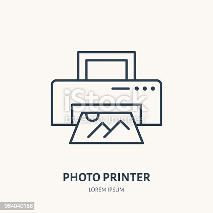 Printer with snapshop flat line icon. Photography equipment sign. Thin linear logo for photo studio.