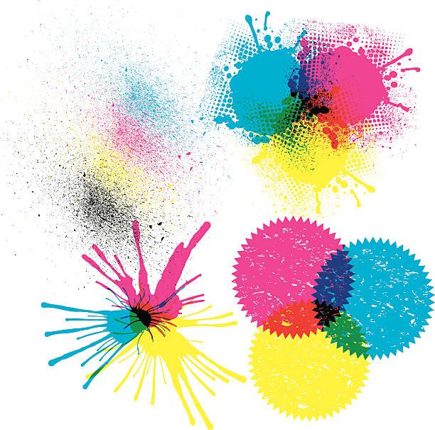 illustrazioni stock, clip art, cartoni animati e icone di tendenza di stampanti a getto d'inchiostro a colori cmyk - cmyk